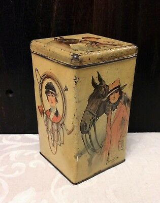 Antique Tin Box Pretty Lady Equestrian Vintage c1920 Horse Lover Gift Flapper