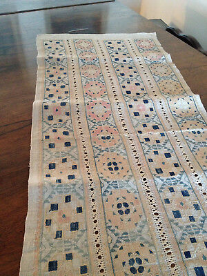 19c Antique Embroidered Table Runner Geometric Early Arts & Crafts Linen Hemp