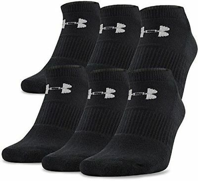 6 Pairs UNDER ARMOUR YOUTH CHARGED COTTON SHOE SIZE 1-4 NO SHOW BLACK SOCKS NWT