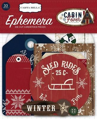 "Carta Bella ""cabin Fever"" Ephemera Die Cuts Winter Snow Scrapjack's Place"