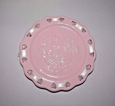 Longaberger Sweetest Heart Pink Ceramic Candle Plate Holder #31167