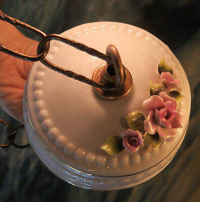 Canopy ceiling part Vintage porcelain lamp chandelier Pink shabby Roses chic