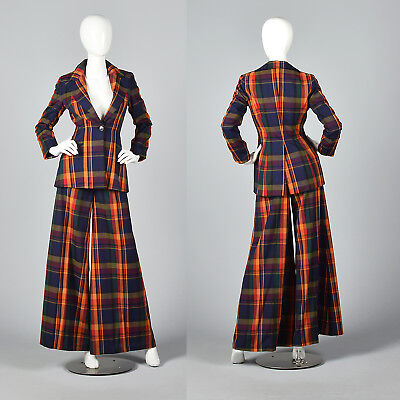 XS 1970s Plaid Palazzo Pant Suit Long Sleeve Fitted Blazer Wide Leg 70s VTG