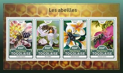 Togo 2016 MNH Bees 4v M/S Abeilles Bee Flowers Insects Stamps