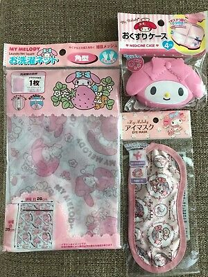 Sanrio Japan My Melody Eye Mask, Laundry Net, Medicine Case 3 set From Japan F/S