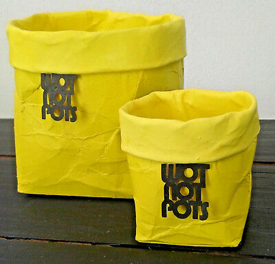 Home decor - 2 pots - yellow outer and inner - brighten up