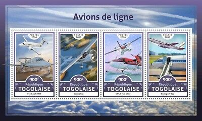 Togo 2016 MNH Airliners Beechcraft Cessna Boeing 4v M/S Aviation Stamps