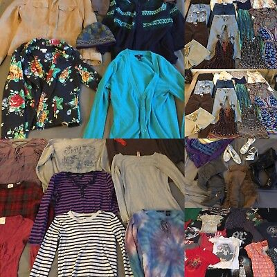 Over 70 Pieces Lot - HUGE WOMENS CLOTHE LOT WHOLESALE Clothes Shoes ALL SIZES