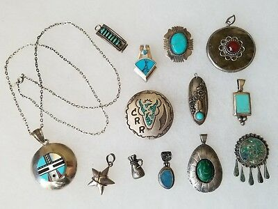 VINTAGE Rare STERLING SILVER PINS NECKLACE PENDANTS & MORE NATIVE AMERICAN LOT