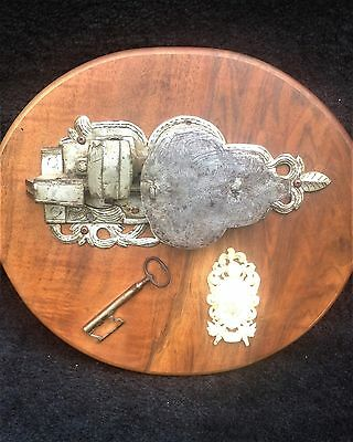 """antique lock & key from """"Middle Age"""" German castle, large and decorative w.crest"""