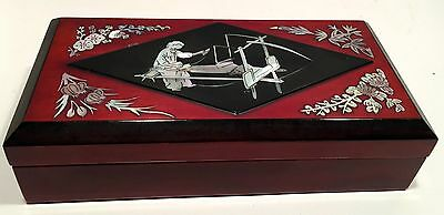 BEAUTIFUL Mother of Pearl Lacquer Inlay Cigarette Smoking Box Vintage Set
