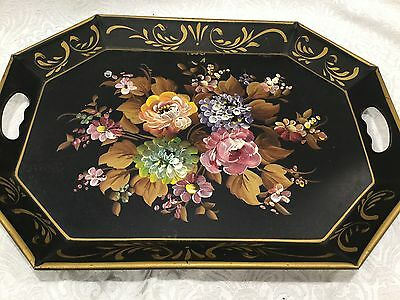 Large Antique Hand Paint Victorian Garden Floral Black Metal Toleware Tole Tray