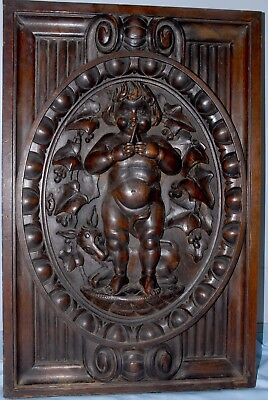 "French Antique Carved Oak Panel Door Pediment Angel/ Cherub & Donkey 25""x 16"""