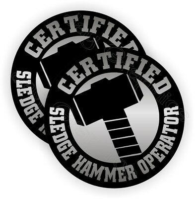 Sledge Hammer Operator Hard Hat Stickers | Funny Decals Labels Safety Helmet