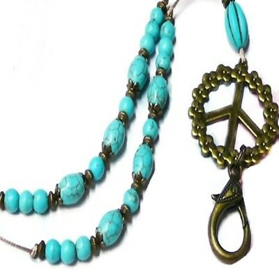 Lanyard Necklace cord keys, security work id badge Bronze Peace Sign, Turquoise