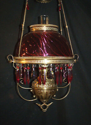 Antique Holmes, Booth & Hayden Hanging Oil Lamp (High Rib Cranberry Swirl Shade)