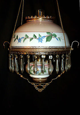 Antique B & H Hanging Oil Lamp ( Matching Shade & Font Signed  By Artist)