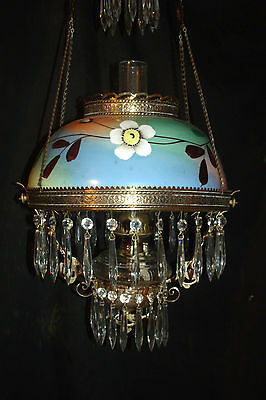 Antique Ansonia Hanging Oil Lamp (White Floral Wrap-Around Painted Shade)