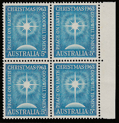 1963 - 5d CHRISTMAS - BLOCK OF FOUR - MUH