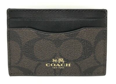 NWT Coach Credit Card Case Holder Signature PVC F63279 Brown Black $65