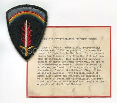 WW2 ~ SHAEF patch with Heraldic interpretation ~ Rare SHAEF archives original