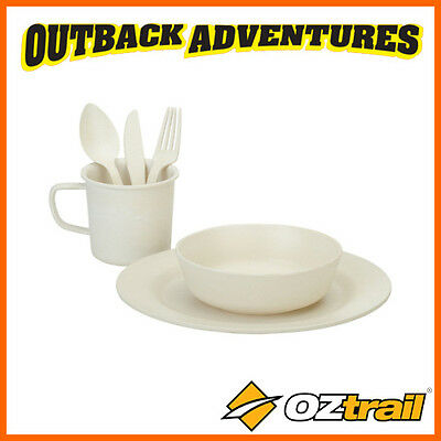 Oztrail Bamboo Camping Dinner Set Cooking Picnic Cutlery Plate Cup 1 Person