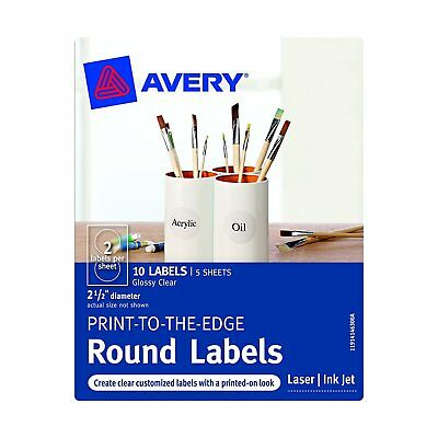 Avery Print-to-the-Edge Round Labels, Clear, 2.5-Inch Diameter, Pack of 10
