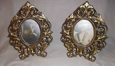 Pair Antique Victorian Brass Arcanthus Scrolls Oval Table Top Frame w Photos