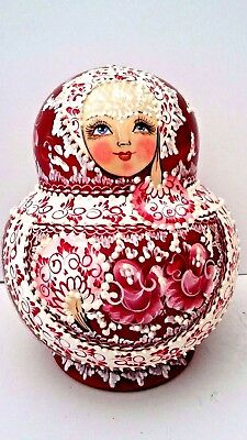 MATRYOSHKA UNIQUE Wooden Nesting Doll 15pcHAND CRAFTED IN RUSSIA SIGH BY ARTIS