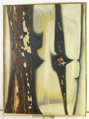1968 Vintage BRUTALIST PAINTING ABSTRACT OIL MID CENTURY EXPRESSIONIST New Hope