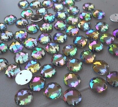 100pcs 10mm Crystal AB Acrylic Round Flatback Strass Rhinestone DIY Sew-on