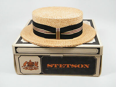 Vintage Men s Woven Straw Boater Hat Barbershop -size 7 1 4 - New York 628640f3fdb