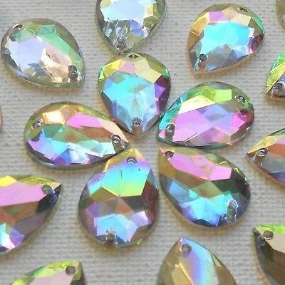 13x18mm Crystal AB Tear Drop Acrylic Flatback Rhinestones Sew-on  50pcs