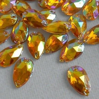 70pcs GOLD YELLOW AB Crystal Tear Drop 8x12mm Acrylic Rhinestones Sew-on
