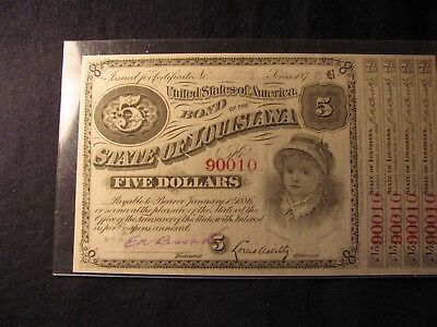 1875 STATE OF LOUISIANA BABY BOND with 4 Coupons **FREE SHIPPING**!!