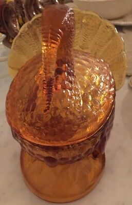 Vintage Turkey Jar with lid, it is made from Bubble gold Color glass.
