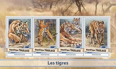 Togo 2017 MNH Tigers 4v M/S Big Cats Wild Animals Stamps