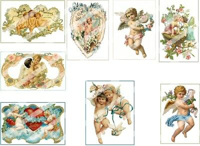 Cherubs & Angels - 8 Assorted - Reproduction on Cotton