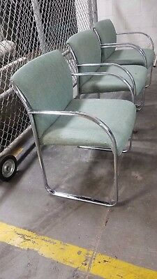Vtg Chrome Steelcase Chairs Mid Century Modern Office Green Fabric (9) Available