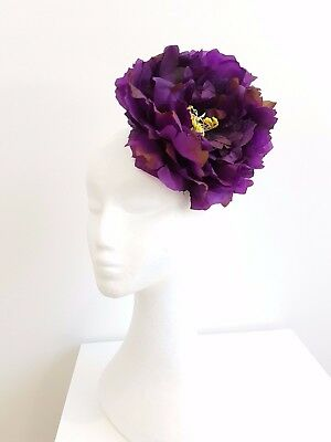 X-large flower womens fascinator  clip Purple,Ivory, Red