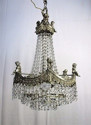 Antique French Chandelier Putti Angels Crystal Prisms Waterfall  Bag & tent
