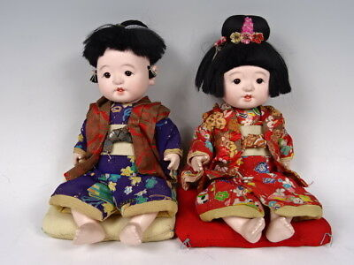 Two old Japanese dolls baby doll changing clothes glasses From japan EMS F/S