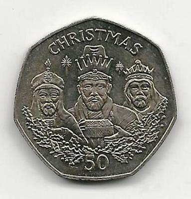 1988 Gibraltar Christmas Three Wise Men 50p Fifty Pence Scarce