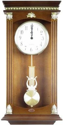 Traditional Walnut Finish Wood Pendulum Wall Clock Numerical Display Home Decor