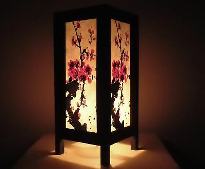 Handmade Vintage Asian Oriental Bedside Table Light Japanese Mei Flowers Art