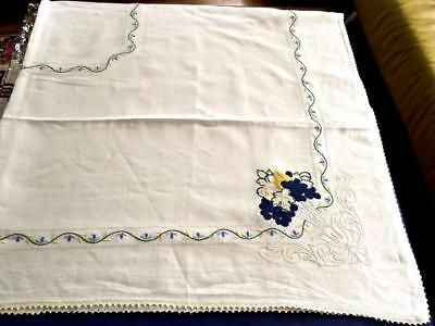 """Antique Pure Homespun Linen 68""""Sq Tablecloth Hand Embroidered Grapes"""