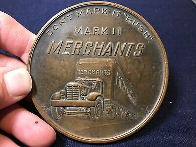Vintage Large Heavy Merchants Motor Freight Inc Trucking Bronze Medal Coin