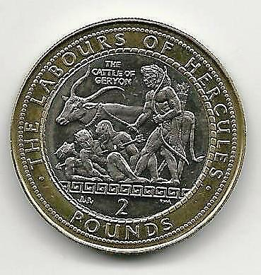 2000 Gibraltar Hercules 'The Cattle of Geryon' Two Pounds £2 UNC Scarce