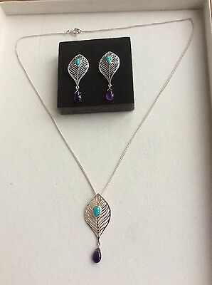 Peacock's feather 925 Silver earrings,pendant with gemstones+925 Silver necklace