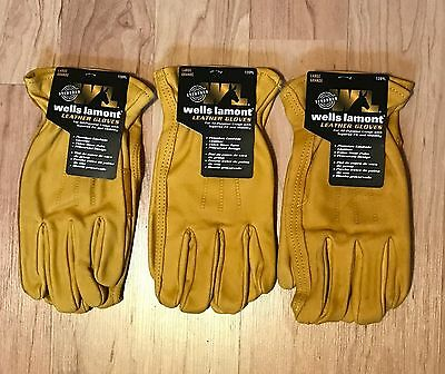Wells Lamont Premium Leather Work Gloves 3 Pairs-Large-FREE Priority Shipping